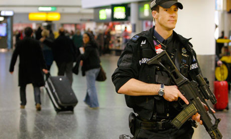 Machine guns on a crowded concourse equals 'safety'?